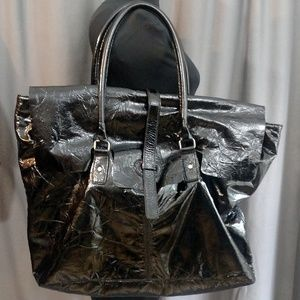 "Leonello Borghi Men""s Patent Leather Weekender"